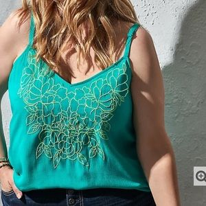 Torrid Turquoise Embroidered Gauze Swing Cami Sz 2